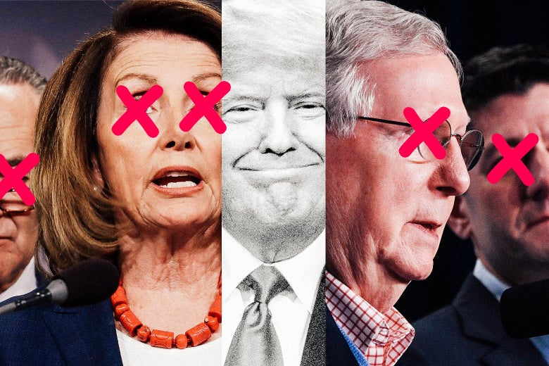 A collage of Chuck Schumer, Nancy Pelosi, Donald Trump, Mitch McConnell, and Paul Ryan.
