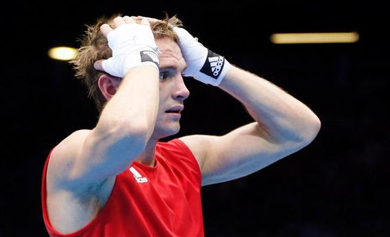 Sergey Vodopiyanov of Russia reacts after losing