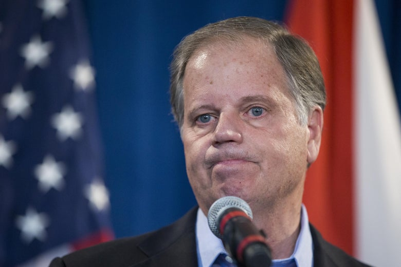 Alabama senator-elect Doug Jones listens to a question on December 13, 2017 in Birmingham, Alabama. Jones stated that US President Donald Trump called him today to congratulate him on his victory.