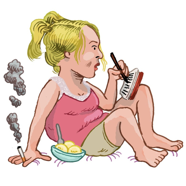 Illustration of Bridget Jones writing in her diary with one hand and holding a cigarette in the other, with a bowl of ice cream beside her.