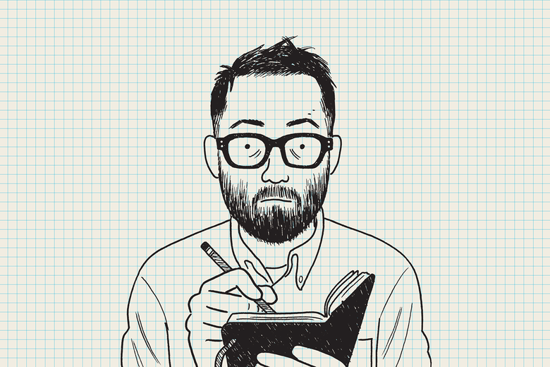 An illustrated self portrait on graph paper by Adrian Tomine.