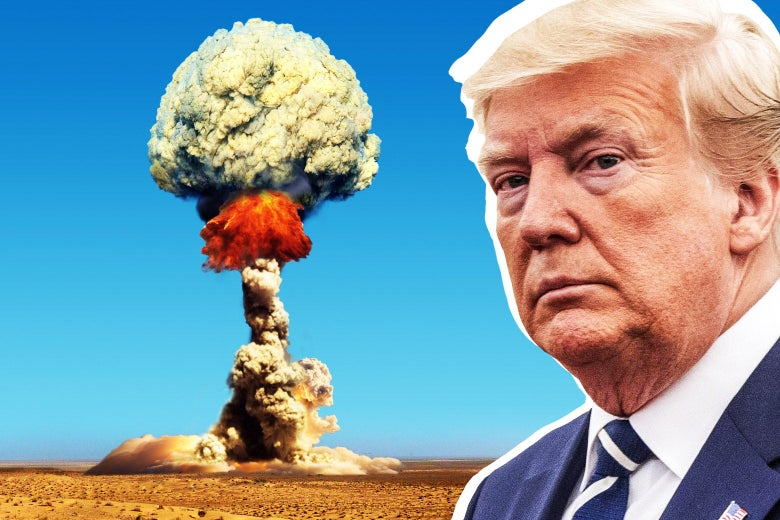 Photo illustration of Donald Trump in front of a nuclear explosion.