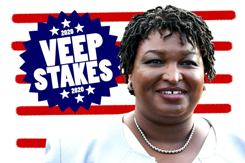 "Abrams in a pale blue blazer appears over a backdrop of red stripes and a blue ""2020 VEEP STAKES 2020"" badge."