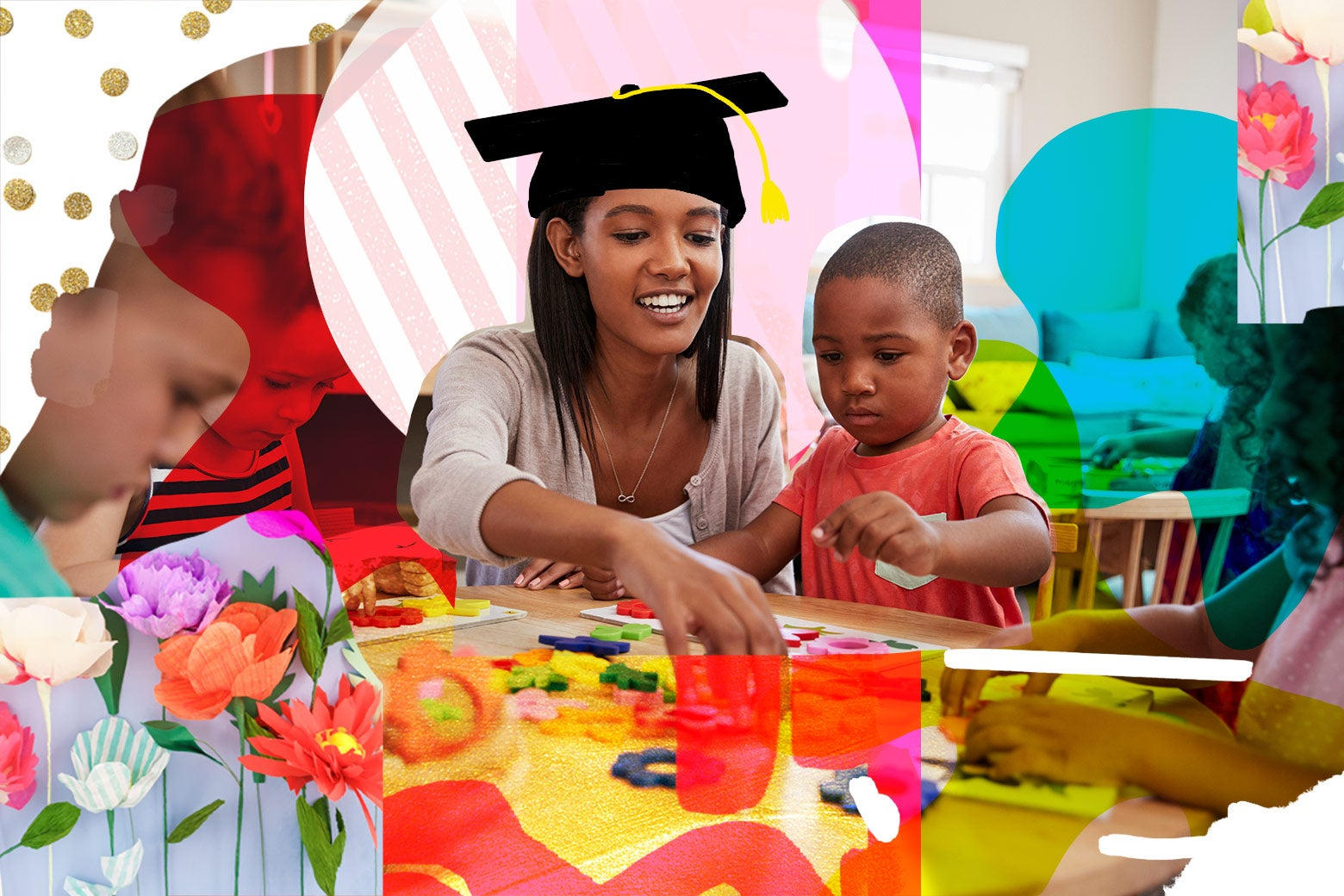 Photo illustration: A stock image of an early childhood education professional at play with students. There is a graduate's cap edited on to the teacher's head.