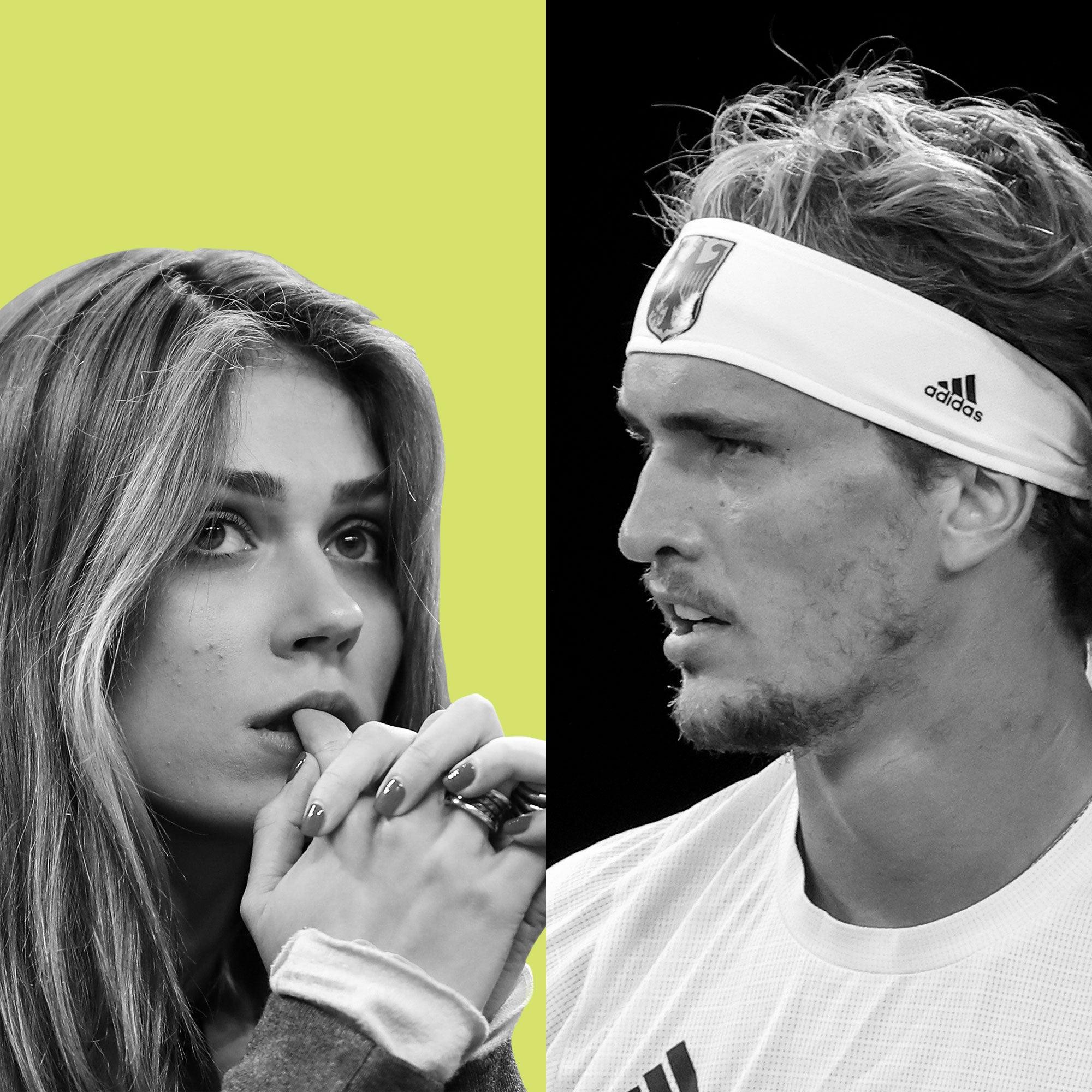 Side by side photos of Olga Sharypova and Alexander Zverev