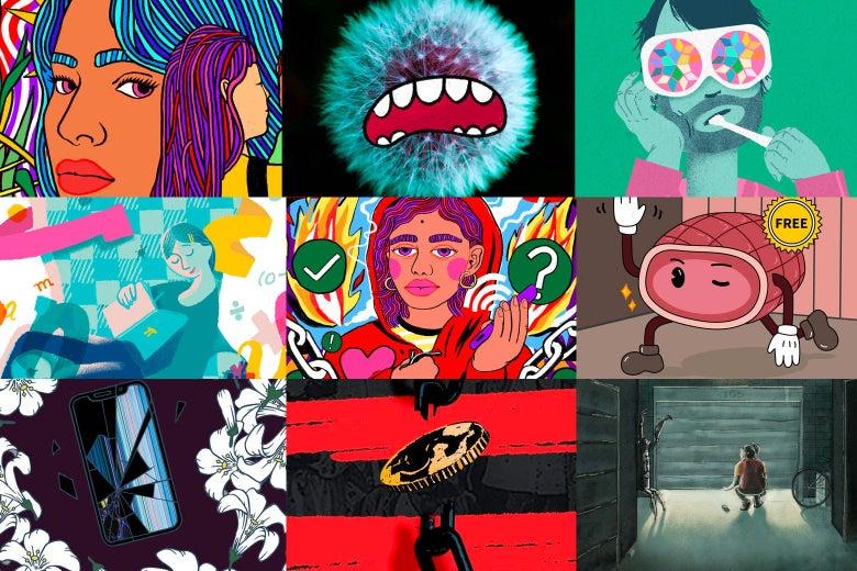 Illustrations in a set of nine.
