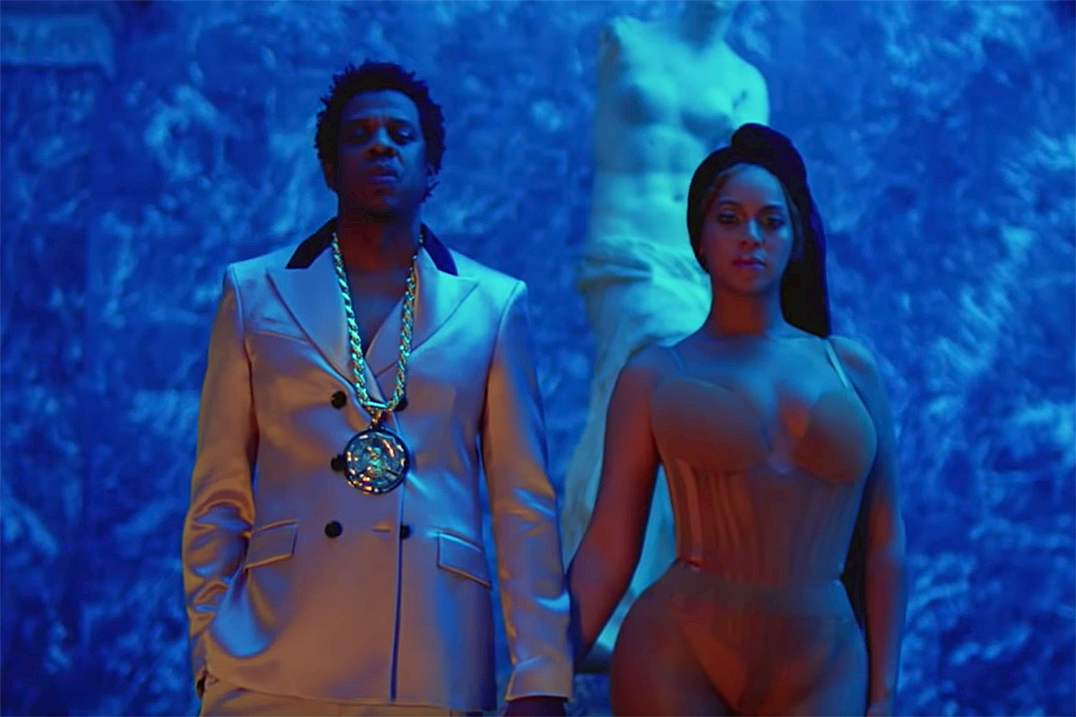 "Beyoncé and Jay-Z in the Louvre from the video for ""Apeshit."""