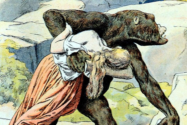 Bigfoot carrying a woman.