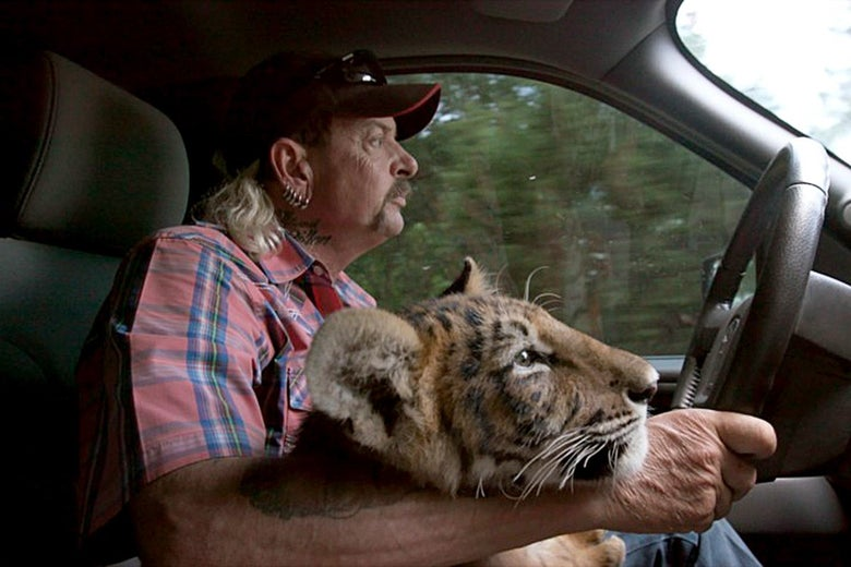 Joe Exotic driving a vehicle with a tiger cub beside him.