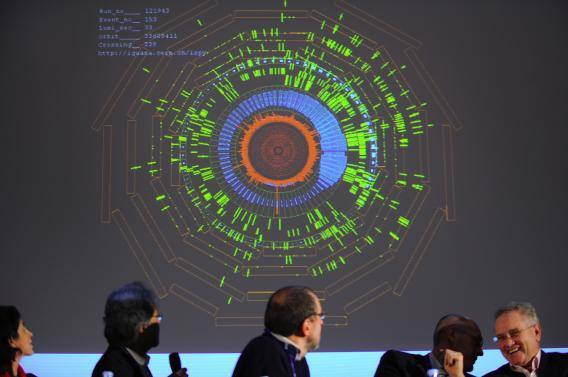 CERN scientists during the restart of the Large Hadron Colliderin November 2009.