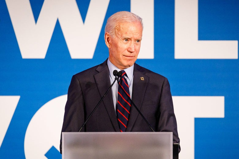 Joe Biden speaks to the crowd at a Democratic National Committee event in Atlanta on Thursday.
