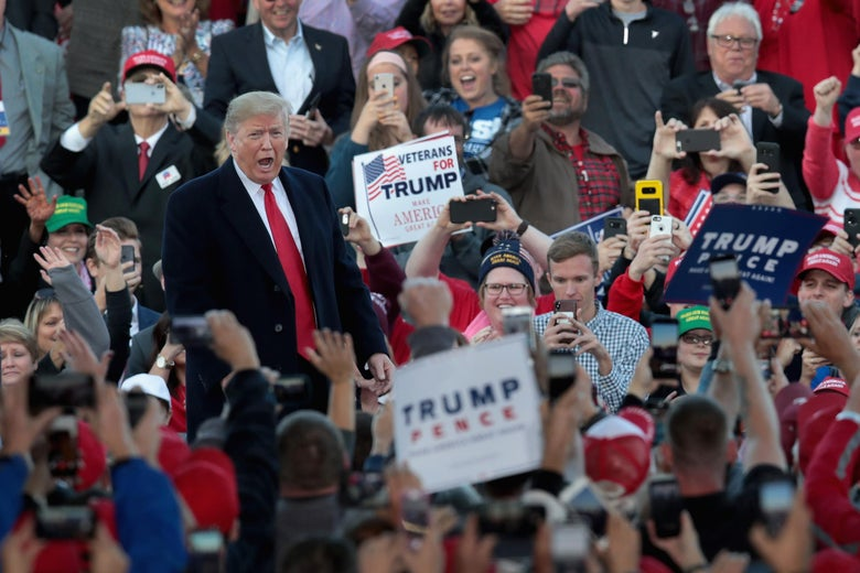 President Donald Trump arrives for a rally at the Southern Illinois Airport on October 27, in Murphysboro, Illinois.