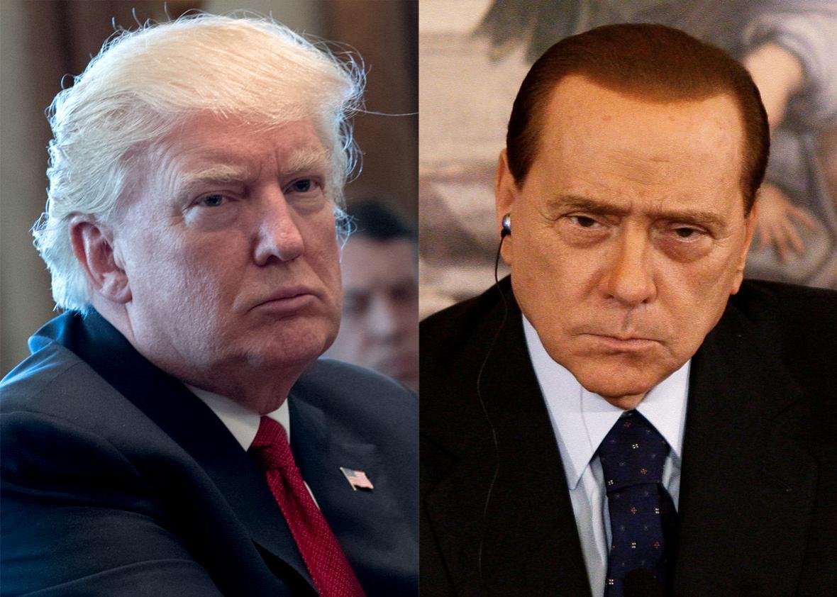 U.S. President Donald Trump and Italian Prime Minister Silvio Berlusconi