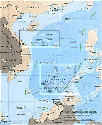 Map of the South China Sea.