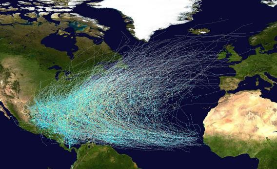 Map of hurricane paths in the Atlantic Ocean