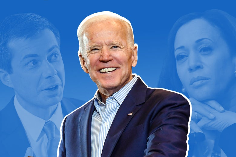 Joe Biden does that grin of his, with Pete Buttigieg and Kamala Harris to the side and in the background.