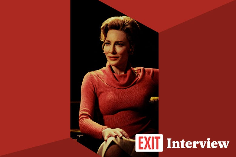 "Cate Blanchett as Phyllis Schlafly in Mrs. America, with ""Exit Interview"" logo in the corner."