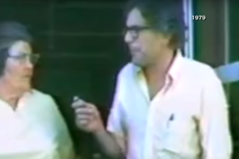 Screenshot from video of Bernie Sanders interviewing a woman in 1979.