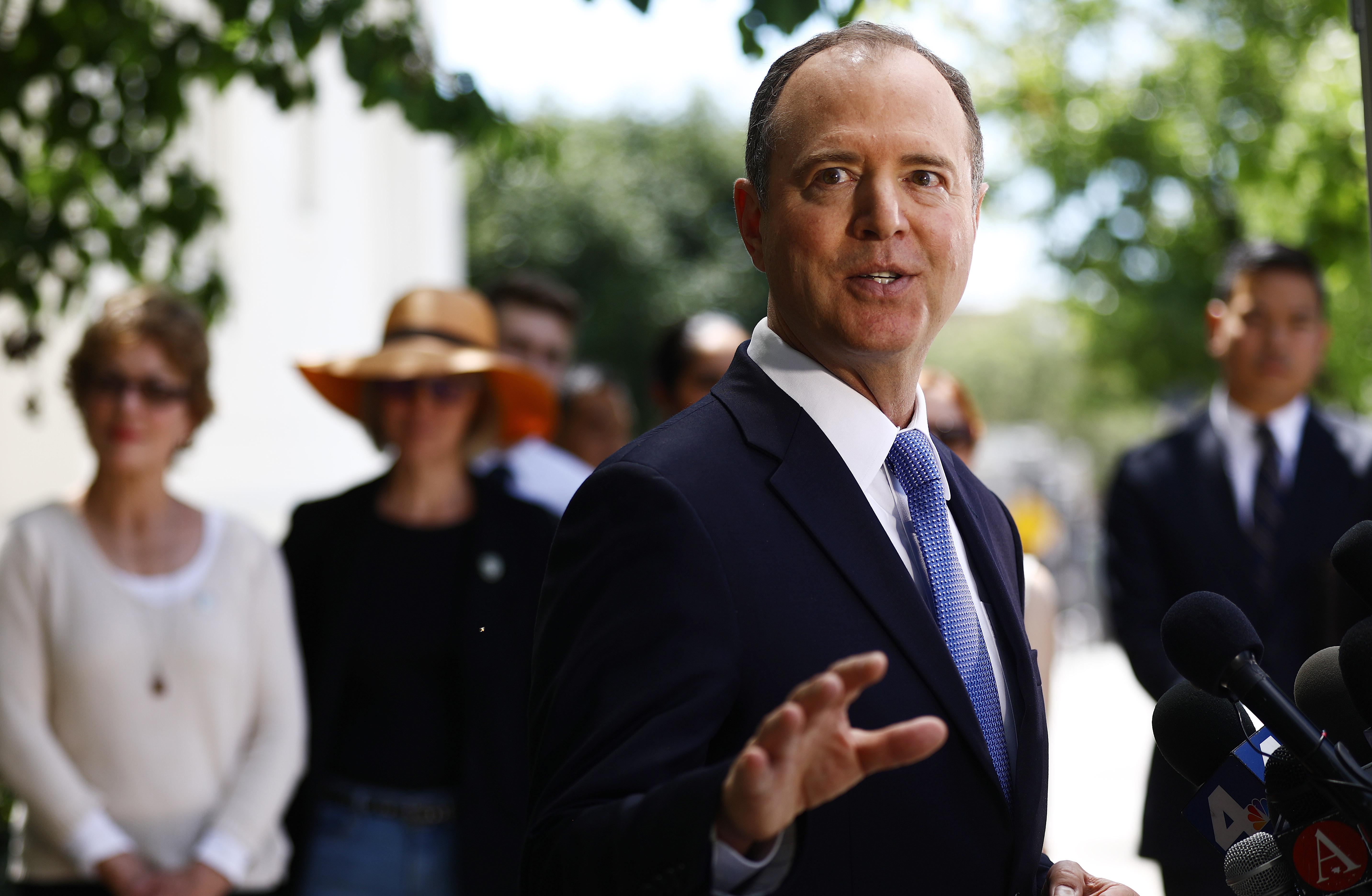 Chairman of the House Intelligence Committee Adam Schiff speaks at a press conference on April 18, 2019 in Burbank, California.