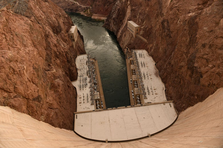 Hydroelectric power generation equipment is seen at the bottom of the Hoover Dam.