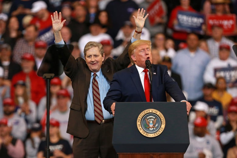 President Donald Trump introduces Sen. John Kennedy (R-LA) during a rally at CenturyLink Center on November 14, 2019 in Bossier City, Louisiana.