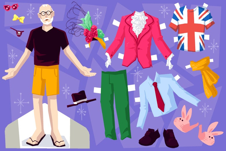A paper doll of a bald dude with a beard, with lots of clothing options.