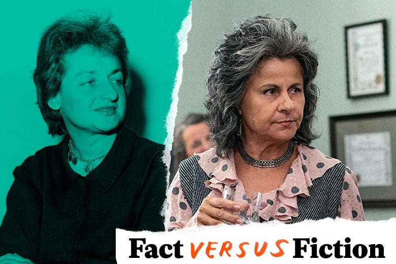 Both women wear their gray hair back and their faces with looks of faint disdain