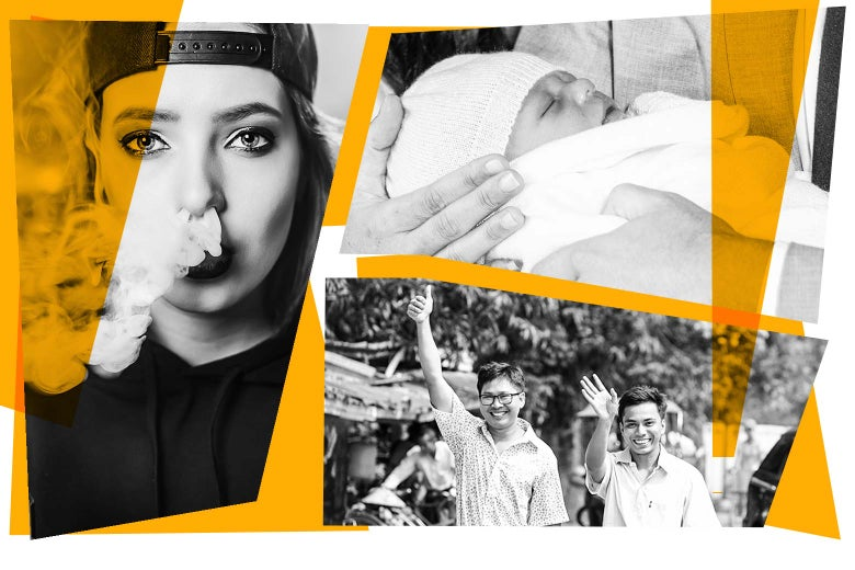 Collage of a teen vaping, royal baby, and reporters Wa Lone and Kyaw Soe Oo.