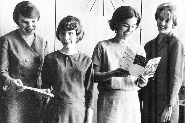 The four Agnes Scott teammates looking happy.