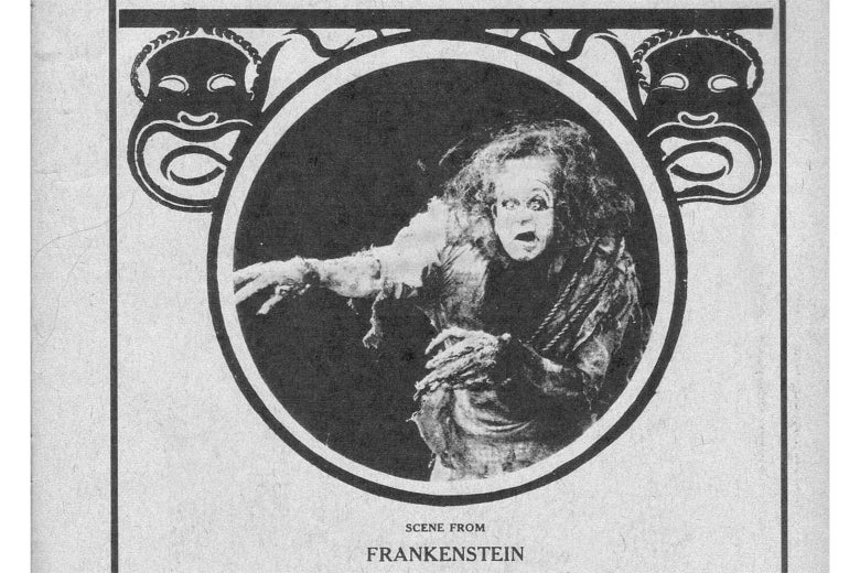 Frankenstein's monster glares out from a magazine cover.
