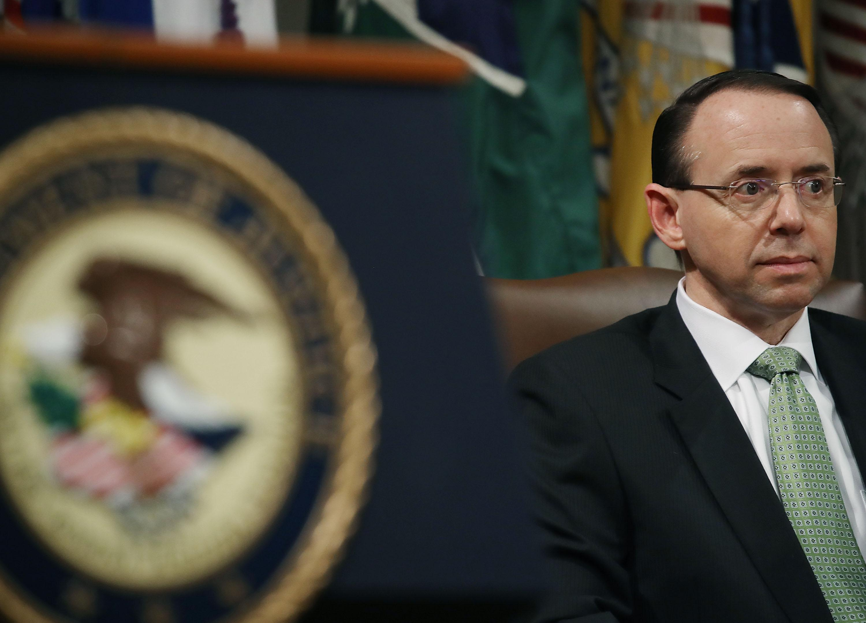 Deputy U.S. Attorney General, Rod Rosenstein participates in a summit to discuss efforts to combat human trafficking, at the Justice Department, on February 2, 2018 in Washington, DC.