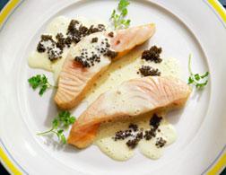 Salmon with caviar.