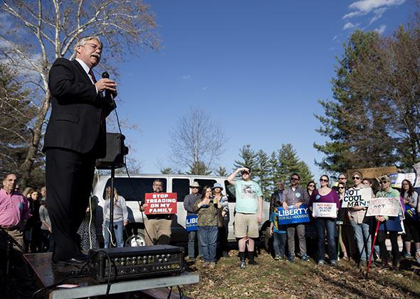 Indiana Attorney General Greg Zoeller speaks to a gathering at Karst Farm Park on March 31, 2015, in Bloomington, Indiana, amid widespread criticism nationally over the state's new controversial Religious Freedom Restoration Act