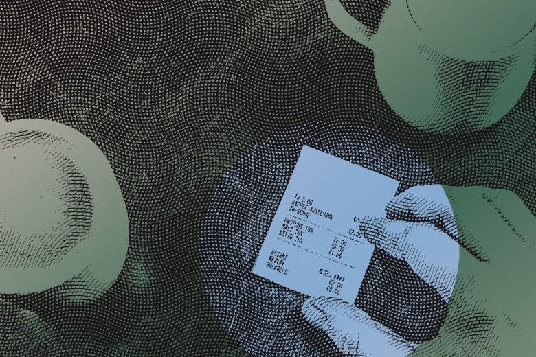 hand on a receipt