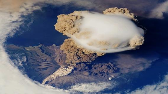 Serychev volcano eruption from space