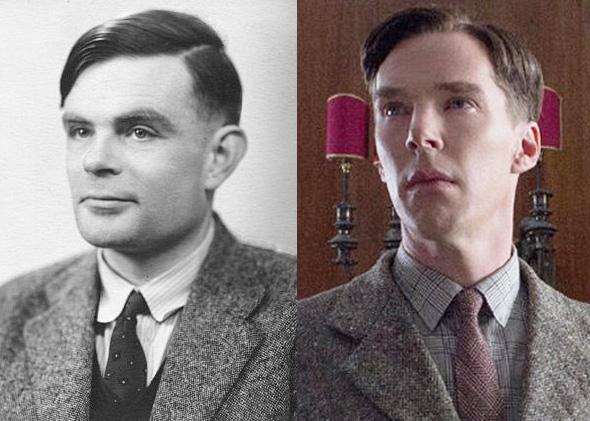 Alan Turing e Benedict Cumberbatch, che intepreta il matematico nel film a lui dedicato.