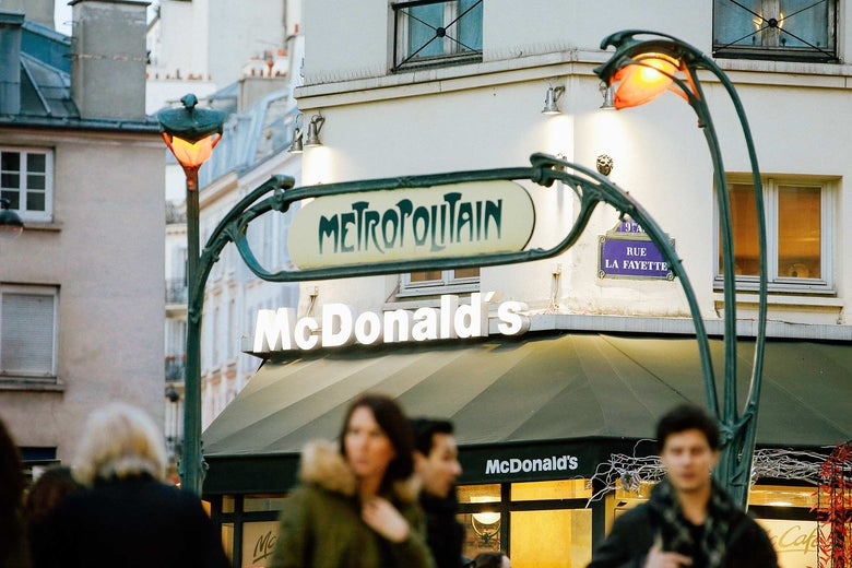 A McDonald's seen near the entrance of a Metro station in Paris in 2015.