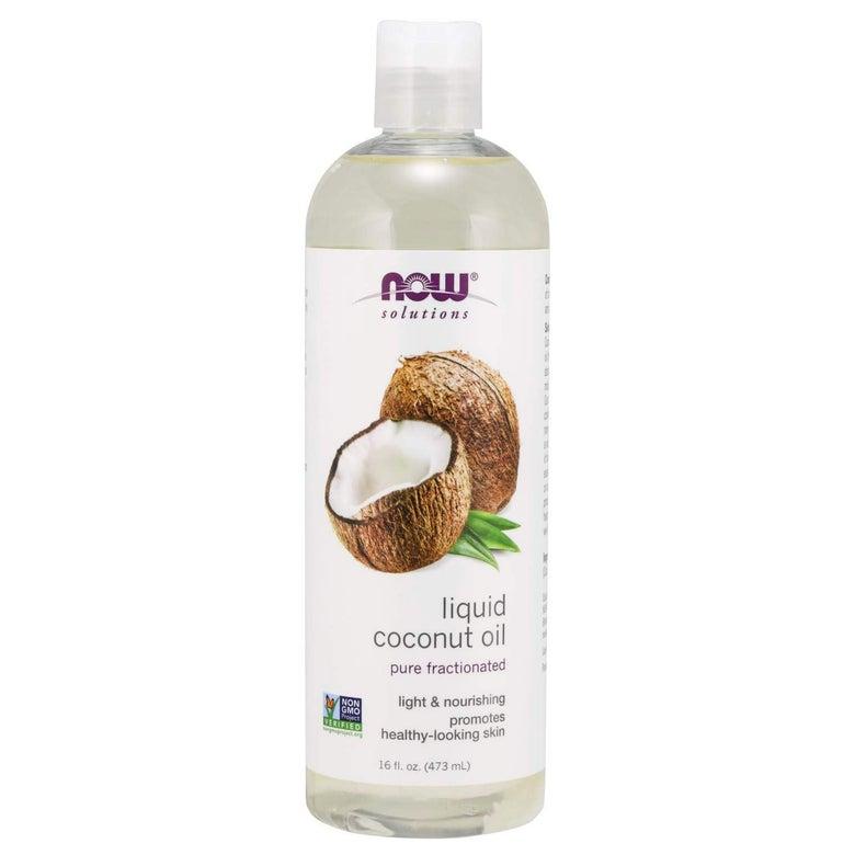 A bottle of liquid coconut oil.