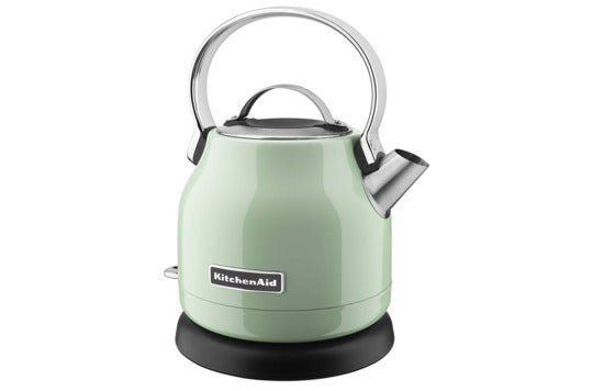 KitchenAid pistachio-colored electric kettle.