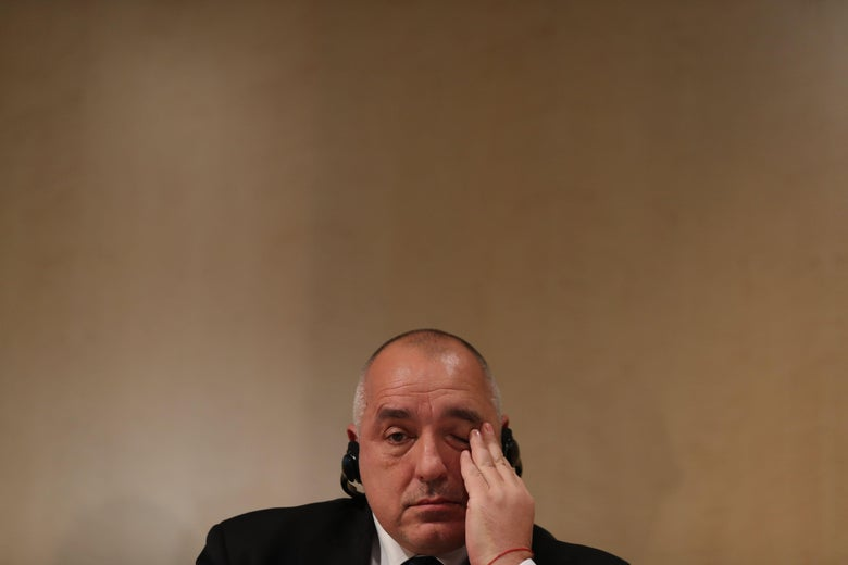 Bulgaria's Prime Minister Boyko Borissov attends a banking summit in London on February 26, 2018.