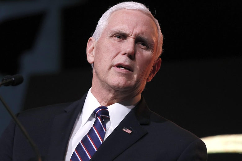 Vice President Mike Pence speaks at the Trump International Hotel on January 17, 2019 in Washington, D.C.