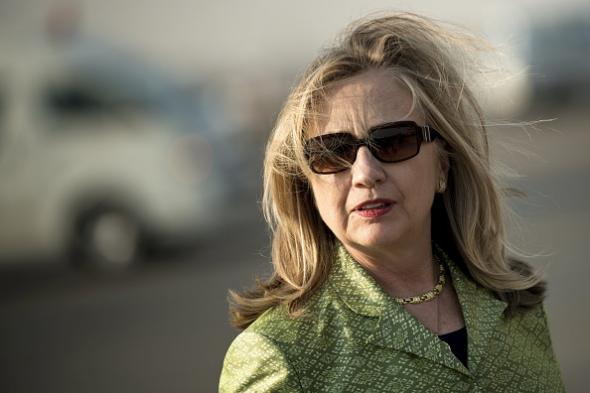 Hillary Clinton wearing sunglasses