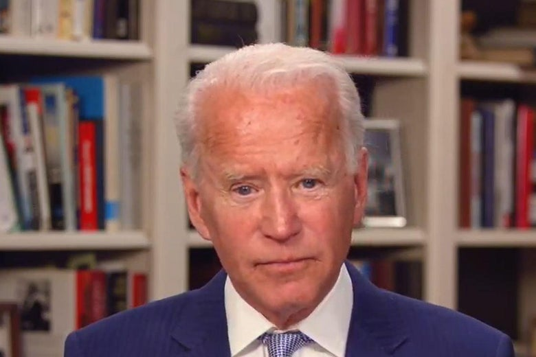 In this screengrab from Joebiden.com, Democratic presidential candidate and former Vice President Joe Biden speaks during a Coronavirus Virtual Town Hall from his home on April 8, 2020 in Wilmington, Delaware.