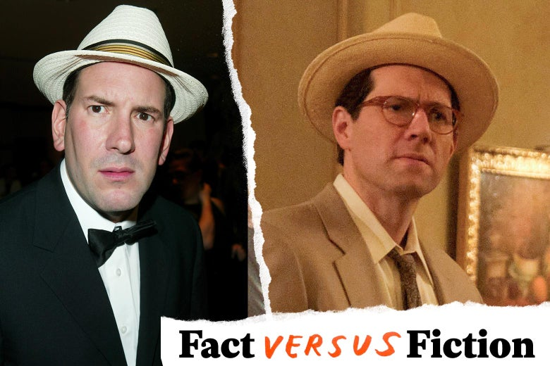 Side-by-side photos of Drudge and Eichner both wearing a fedora and a suit