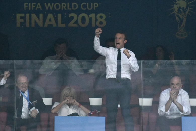 French President Emmanuel Macron celebrates his team's goal during the Russia 2018 World Cup final football match between France and Croatia at the Luzhniki Stadium in Moscow on July 15, 2018.