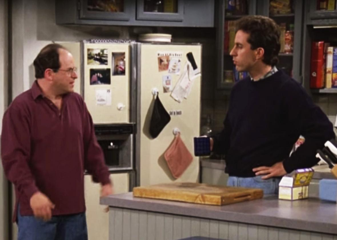 Jason Alexander and Jerry Seinfeld in Seinfeld.