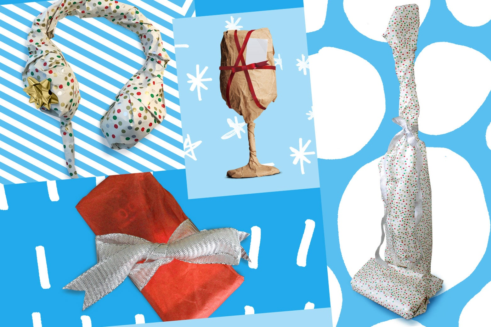 Wrapped gifts: headphones, wine glass, vacuum cleaner