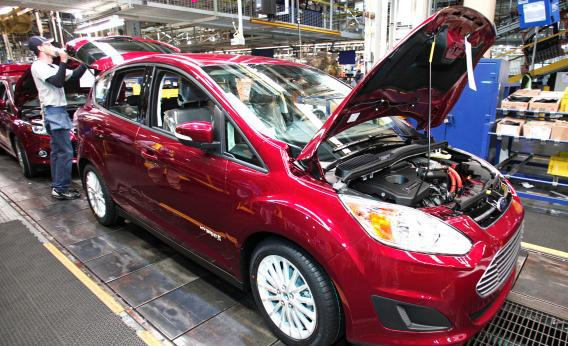 A Ford C-MAX hybrid vehicle goes through assembly at the Michigan Assembly Plant Nov. 8, 2012, in Wayne, Mich.