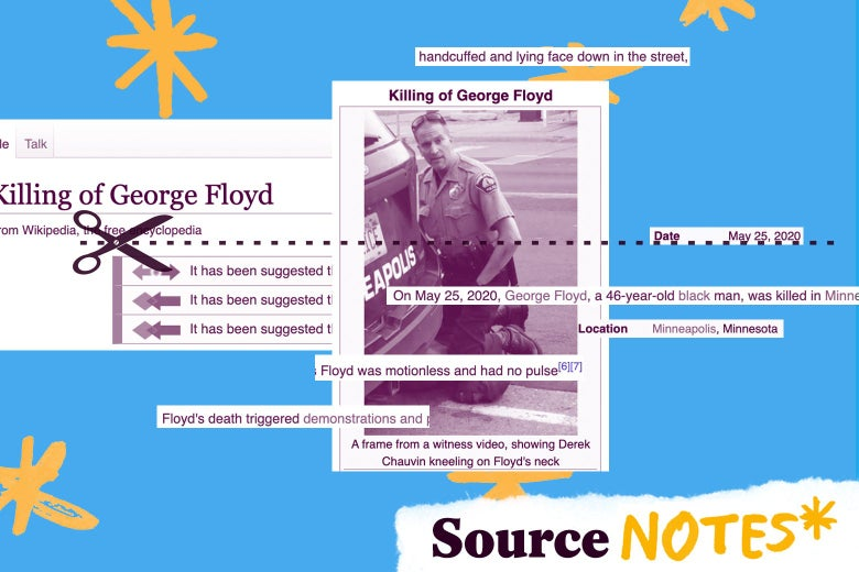 """A collage of images from the Wikipedia page for George Floyd, with a logo that says """"Source Notes"""""""