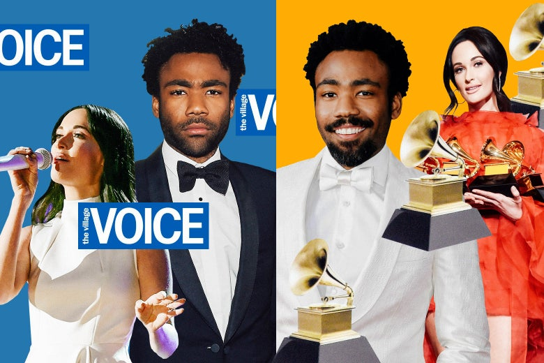 Kacey Musgraves and Donald Glover depicted with the Village Voice logo and Grammy statues.